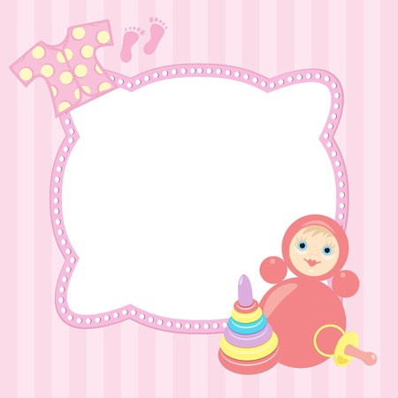 pink baby frame with roly-poly, pyramid and vest Vector