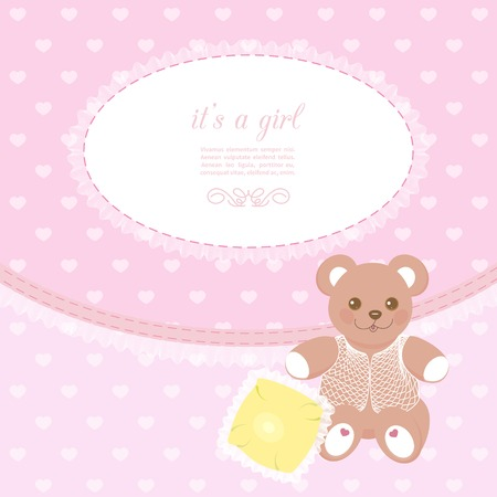 baby bear: pink baby frame with teddy bear and small pillow Illustration