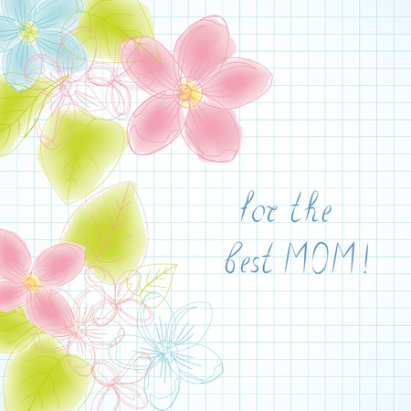 mather: Childrens drawing watercolor greeting best mom