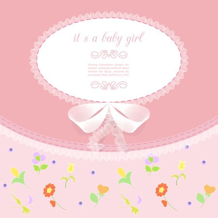 ruffles: baby frame with lace, ruffles, on pink background