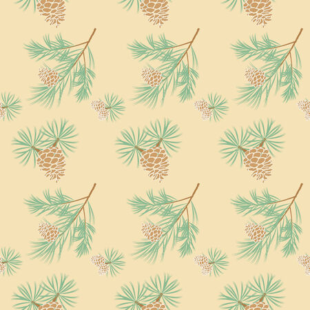 seamless pattern of pine branches and cones on cream background Vector