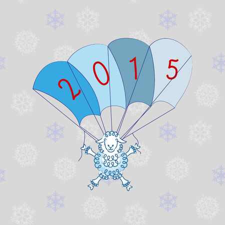 sheep flies on parachute with figures 2015 Vector