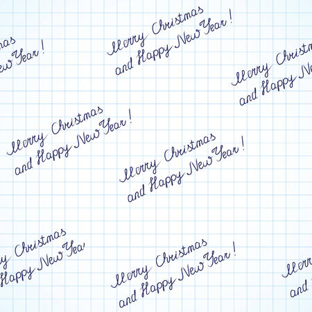 seamless inscription Merry Christmas and happy new year on sheet Vector