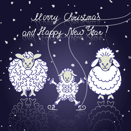 family of three different sheep skating on ice Vector