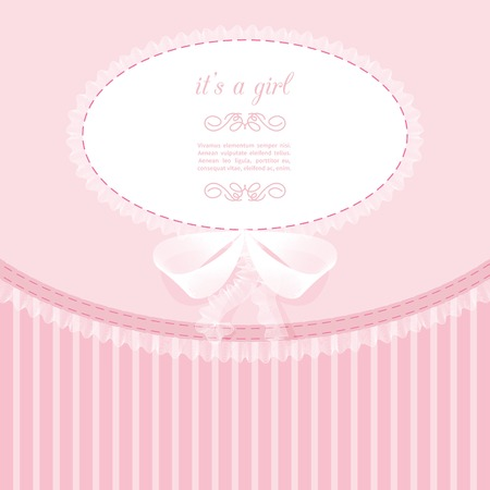 striped: baby frame with lace, ruffles, on pink background