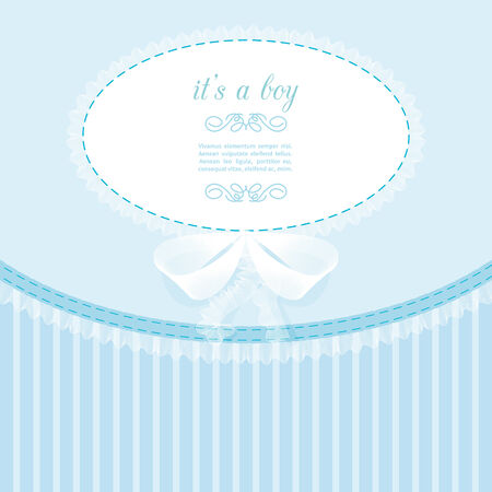 ruffles: baby frame with lace, ruffles, on blue background Illustration