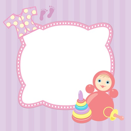 violet baby frame with roly-poly, pyramid and vest Vector