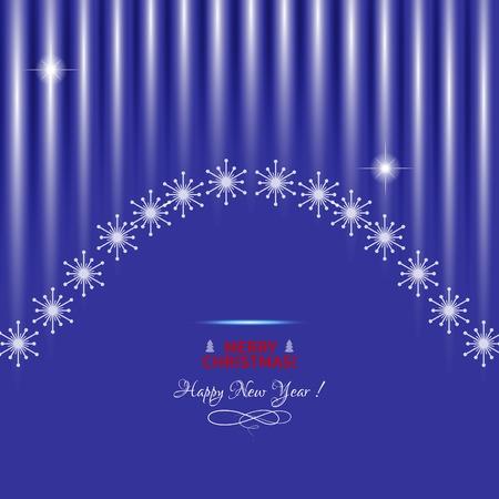 terciopelo azul: Navidad de fondo con la cortina azul de terciopelo y los copos de nieve. Ilustraci�n del vector.