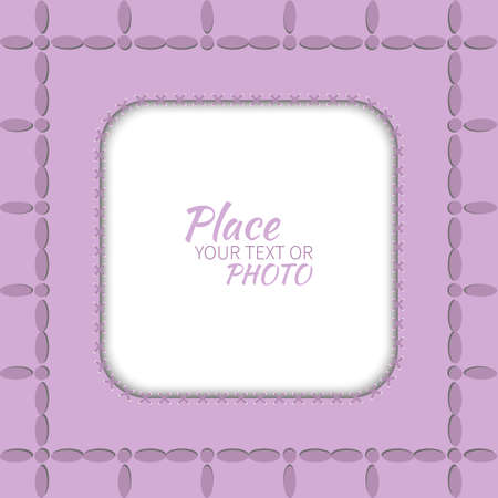 to cut out: frame for photo with embroidered purple background Illustration