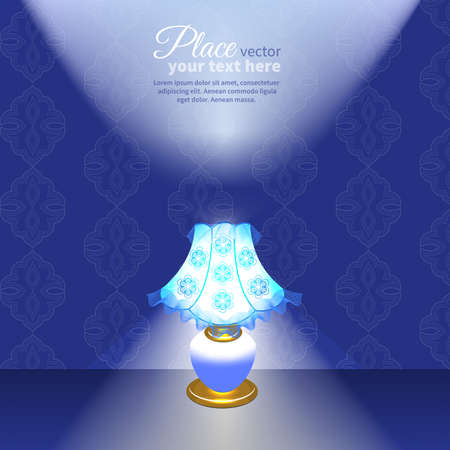 lampshade: glowing lampshade on background of vintage wallpaper