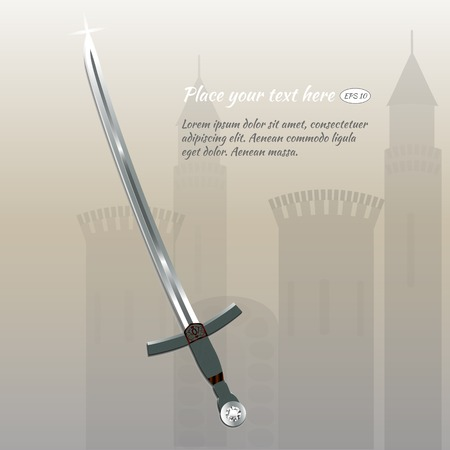 strass: sword with strass on background old castle
