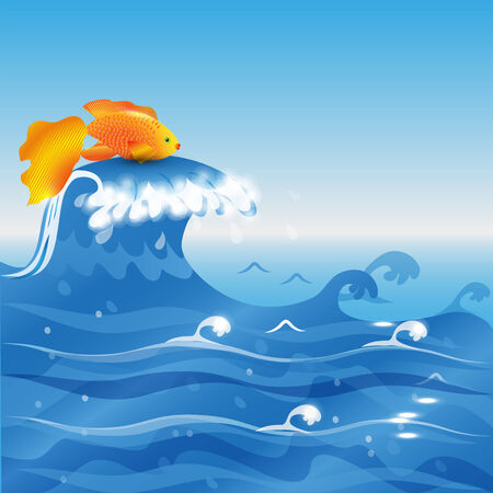 Illustration of gold fish on sea wave