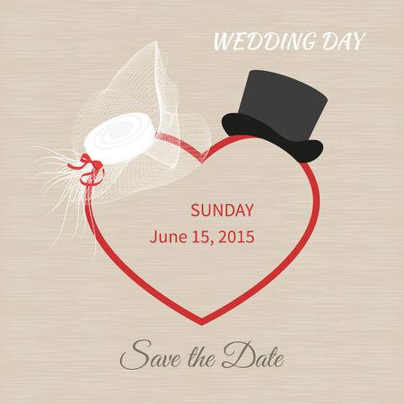 chapeau blanc: Chapeau blanc avec un voile noir et chapeau haut de forme. invitations de mariage Illustration