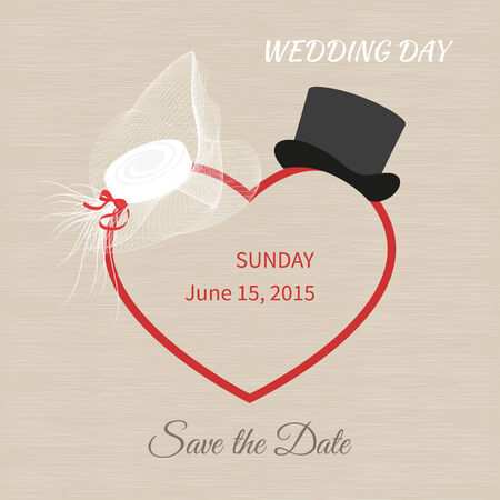 White hat with a veil and black top hat. Wedding invitations Illustration