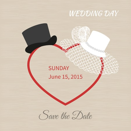 White hat with a veil and black top hat. Wedding invitations Illusztráció