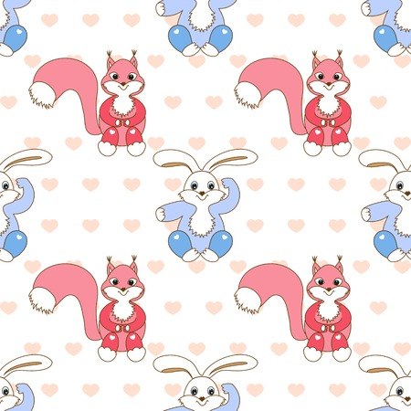 childrens seamless pattern with  hare, squirrel on  white background Vector