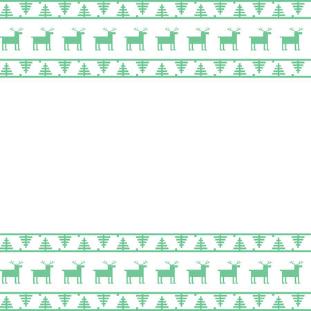 Seamless border pattern with reindeer and Christmas trees isolated on white Vector