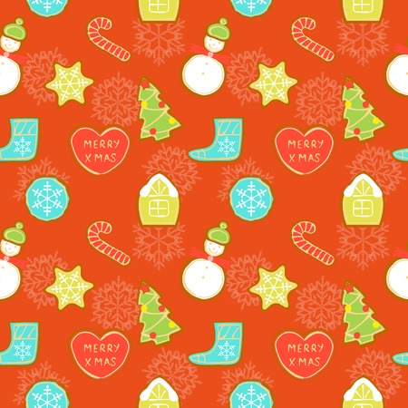 Seamless pattern of different Christmas cookies on red background snowflakes Vector