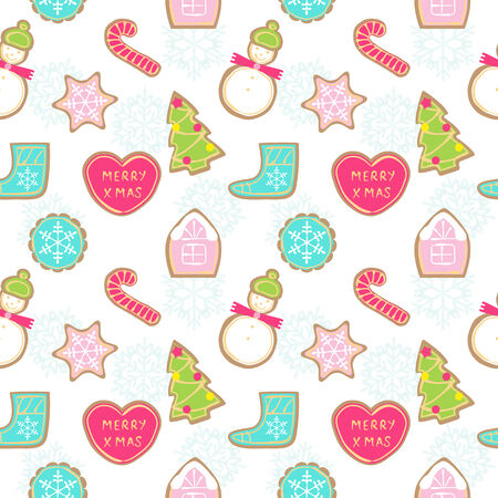 christmas cookies: Seamless pattern of different Christmas cookies on white background snowflakes