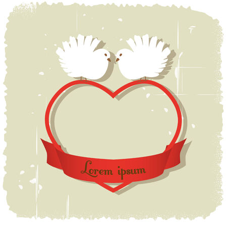 grungy background: Two white pigeons in heart with ribbon on grungy background