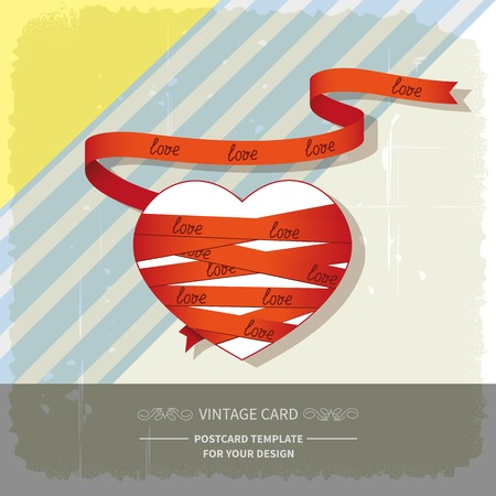 Heart wrapped red ribbon on retro background Vector