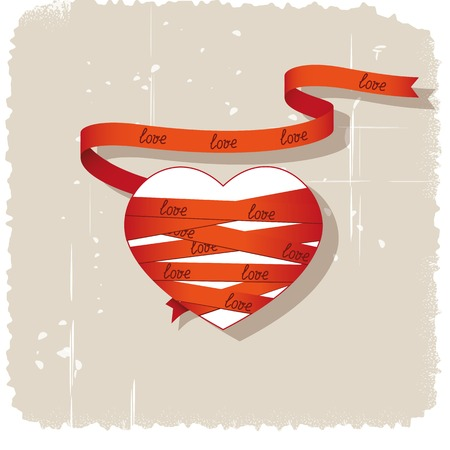 Heart wrapped red ribbon on grungy background Illustration