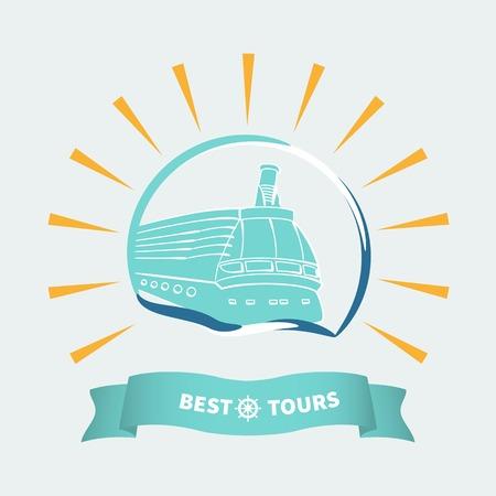 Cruise ship and ribbon.Label sea cruise travel. Illustration