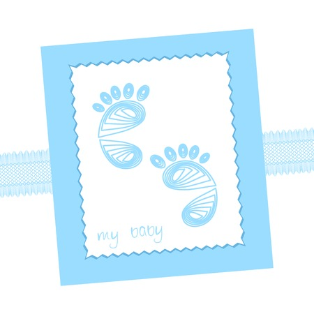 Baby arrival card traces footprints icon and lace Vector