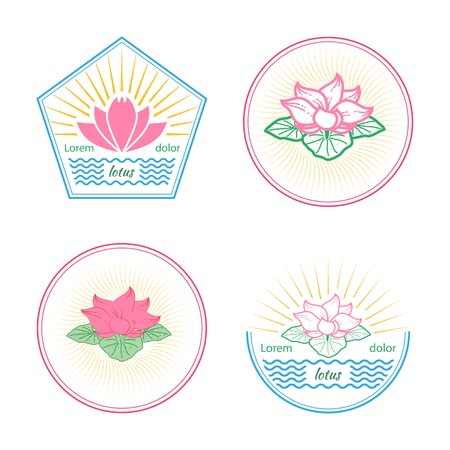 Set of lotus flower labels, badges and design elements on white background Illusztráció