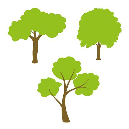 fertile: Three different green tree set on white background