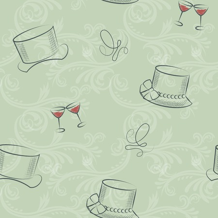 is masculine: Seamless pattern of hand-drawing sketch feminine and masculine hat with glass of wine