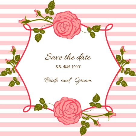 striped background: Card bridal shower with floral background or invitation with flowers roses on striped background