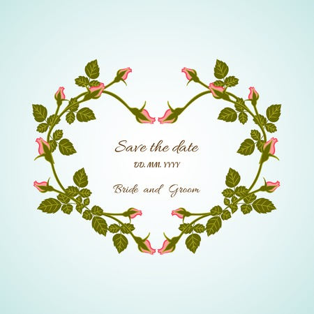 Card bridal shower with floral background or invitation with heart of flowers roses on blue background Vector