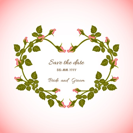 Card bridal shower with floral background or invitation with heart of flowers roses Vector