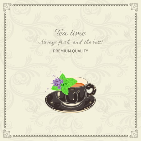 Tea cup and saucer with mint leaves on seamless background with frame Illustration