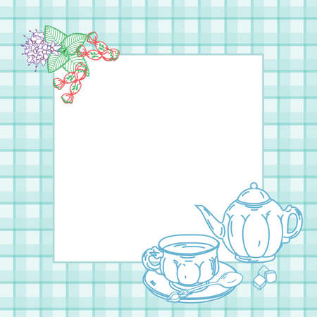 peppermint candy: Frame with cup of tea,Tea Maker and peppermint candy on plaid background Illustration