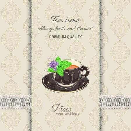 invitación a fiesta: Taza de té y platillo con las hojas de menta en el fondo sin fisuras con el cordón Vectores