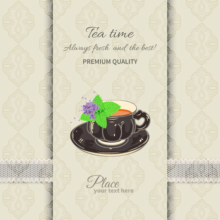 party invitation: Tea cup and saucer with mint leaves on seamless background with lace