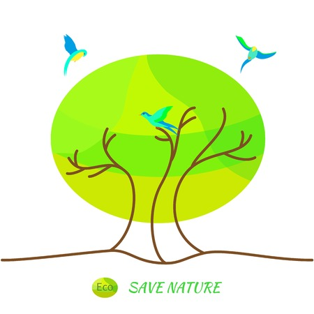 environmentally friendly: Illustration environmentally friendly planet.Green landscape,tree and birds isolated on white background. Eco Concept. Illustration
