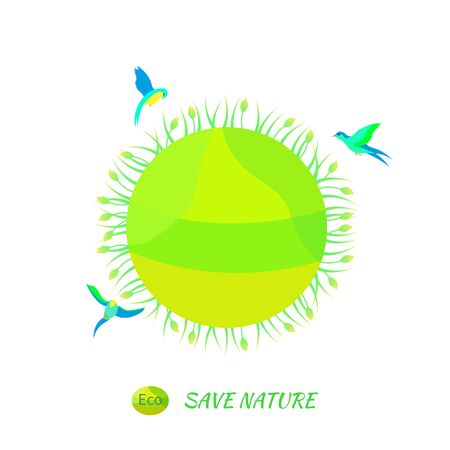 environmentally: Illustration environmentally friendly planet.Green landscape,planet and birds isolated on white background. Eco Concept.