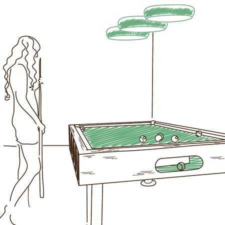 pool hall: Sketch of game for pool table.Girl with pool cue.