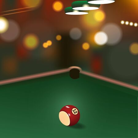 pool hall: Illustration of game on green cloth with billiard ball.Blurred background, bokeh effect