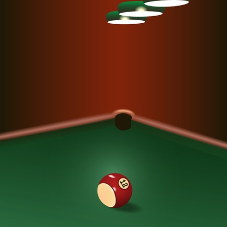 pool hall: Illustration of game on green cloth with billiard ball Illustration