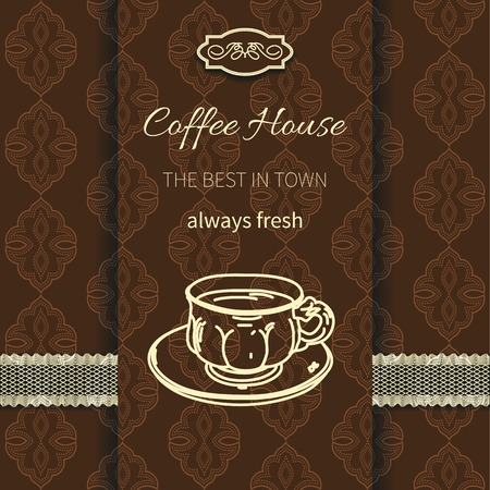 realistically: Menu for restaurant, cafe, coffee house on background seamless pattern with lace