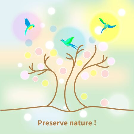 environmentally: Illustration environmentally friendly planet.Green landscape,tree and birds isolated on blurred background with bokeh. Eco Concept. Illustration