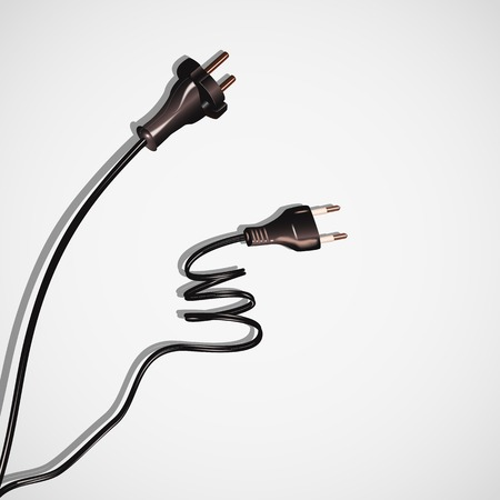 electrical cables: Two cables plug,electrical cords black on white