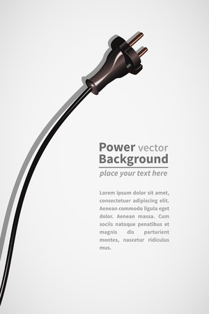 Electrical power plug black on white background with text Vectores