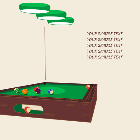 pool hall: Table with balls and lighting equipment for billiards with space for text