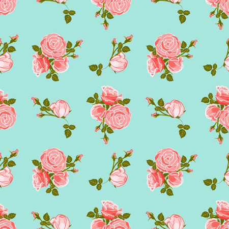 classic wallpaper seamless vintage flower pattern on blue background Illustration
