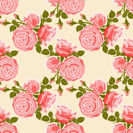 classic wallpaper seamless vintage flower pattern on cream background Vector